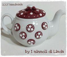 Teiera con pandistelle realizzata in fimo...by I ninnoli di Linda