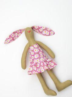 love this handmade bunny doll Handmade stuffed bunny Plush softie summer by HappyDollsByLesya, $29.00