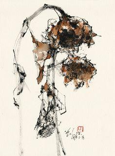 Size: 38 x 28 cmMedia: Chinese ink & watercolour on paper Watercolor Sunflower, Pen And Watercolor, Watercolor Flowers, Botanical Illustration, Illustration Art, Floral Drawing, Tinta China, China Art, Ink Illustrations