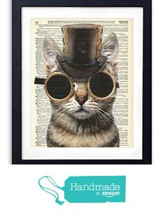 Steampunk Cat Upcycled Vintage Dictionary Art Print 8x10 from Vintage Book Art Co. http://smile.amazon.com/dp/B015X3F4AE/ref=hnd_sw_r_pi_dp_TKQpxb06DJ68V #handmadeatamazon