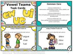 FREE Download Long u Vowel Teams Task Cards Phonics Games & Activities: You will receive 6 task cards focusing on long u {ew, ue, ui} sounds. They work well for 1st grade, 2nd grade, special education, ESL and speech and language therapy. Game ideas are included. A student response form and answer key are provided.  Common Core Reading: CCSS.ELA-LITERACY.RF.1.2 CCSS.ELA-LITERACY.RF.1.3  CCSS.ELA-LITERACY.RF.2.3.B
