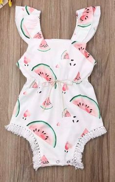 GoodFilling Summer Toddler Baby Girl Clothes Cute Fruit//Flower Print Backless Tassel Romper Shorts Jumpsuit with Headband