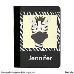Funny zebra cartoon kids padfolio