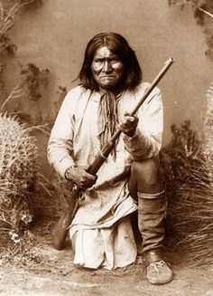 """Geronimo (June 16, 1829 – February 17, 1909) was a prominent leader of the Bedonkohe Apache who fought against Mexico and the United States for their expansion into Apache tribal lands for several decades during the Apache Wars. """"Geronimo"""" was the name given to him during a battle with Mexican soldiers. His Chiricahua name is often rendered as Goyathlay or Goyahkla in English."""