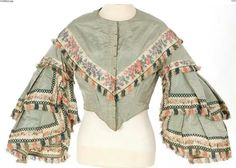 Fringed bodice with pagoda sleeves. 1850s