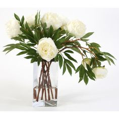 Distinctive Designs Silk Peonies in Triangle Vase