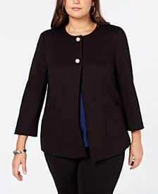 Shop the latest collection of plus size suits at Macys. Find a wide selection of chic plus size business or casual suits for all occasions including top brands. Plus Size Suits, Plus Size Blazer, Plus Size Jeans, Plus Size Womens Clothing, Plus Size Fashion, Clothes For Women, Trendy Clothing, Clothing Stores, Curvy Fashion