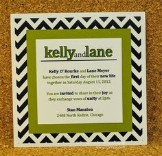 Chevron Blue Green and White Linen  Kelly Invitation Suite by r3mg, $10.00