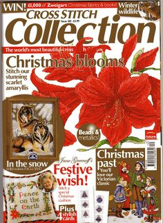 Cross Stitch Collection 165 2008. Christmas blooms; Victorian Christmas, winter friends, wolves, christmas cards, Peace on earth pillow