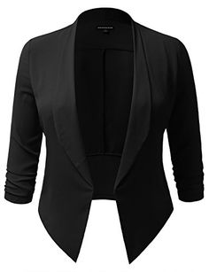 SHOPQUEEN Plus Size Open Front Thin Blazer Cardigan Office Work Formal Jacket  Hand wash, Line dry, Do not bleach  AWOLBL0293: Non-Textured | AWOBL0294-0297: Textured  Open front blazer features ruched 3/4 sleeve ensures easy movements  Can be worn as a professional formal attire or casual everyday blazer jacket  Sizes may run smaller for this item, purchasing one size up is recommanded. Please be advised to see our size chart in the description box for the most accurate fit.