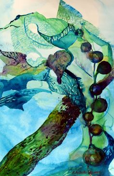 Abstract painting of seaweed by Kathy Dueker