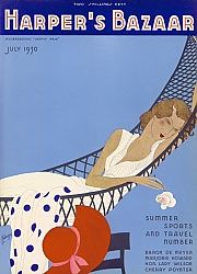 Harper's Bazaar 1930.  Front cover illustration by Benigni for Harper's Bazaar magazine featuring an elegant woman reclining lazily in a hammock on a summer day.