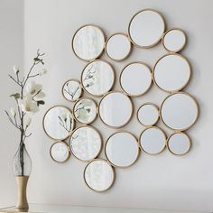 We love the Camilla Gold Circles Mirror 😍 Designed with 19 circles adjoining to create its structure, this stylish mirror is unique and perfect for any wall in your home. Mirror Gallery Wall, Small Wall Mirrors, Black Wall Mirror, Mirror Collage, Rustic Wall Mirrors, Round Wall Mirror, Living Room Wall Mirrors, Mirror Mirror, Bedroom Wall