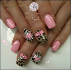 Candy Pink Nails with Leopard Print, Hearts, Bows & Crystals...