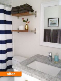Before & After: I must do this for the hideous bathroom in my new place! Shelving above toilet, contact paper for stupid pink counter top, paint cabinets white instead of the ugly false wood brown. Genius!