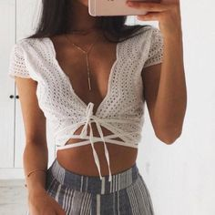 White eyelet crop top Size large Actual photos posted brand new never worn unbranded Sabo Skirt Tops Crop Tops