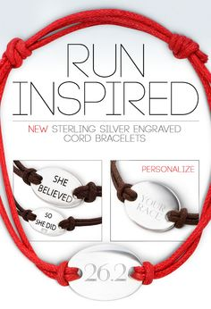 Run Inspired with Sterling Silver Cord Runner's bracelets from goneforarun.com