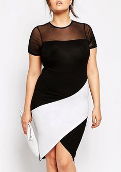 Noble Gauze Splicing Color Block Furcal Bodycon Plus Size Dress For Women