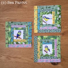 Blue tit log cabin quilt blocks. Made using original Sea Parrot fabrics - blue tits and spring garden flowers. Blue Tit, Patchwork Fabric, Spring Garden, Bird Art, Quilt Blocks, Parrot, Fabric Design, Arts And Crafts, Fabrics