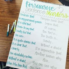 Persuasive Sentence Starters Anchor Chart by Miss L's Busy Bees!