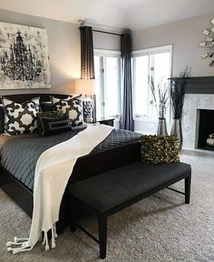 Black Bedroom Furniture Curtains Grey Carpet Bedrooms
