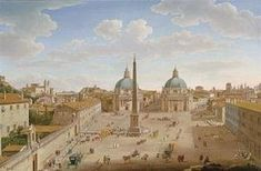 Famous paintings of Houses: Roma- Piazza del Popolo 1750