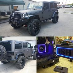 Jeep all ready for delivery. Matte charcoal and gloss black accents. Black Accents, Car Detailing, Jeep Wrangler, Jeeps, Awesome Stuff, 4x4, Charcoal, Custom Design, Delivery