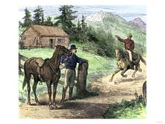 Pony Express Rider Coming into a Station in the Rocky Mountains Giclee Print