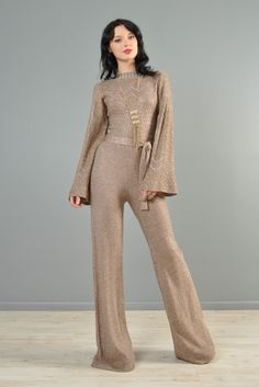 Metallic Knit 1970s Bell Bottom Jumpsuit with Flared Sleeves   BUSTOWN MODERN