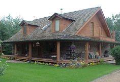 дом из дров с террасой