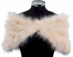 HOLLYWOOD NOSTALGIC GLAMOUR - Soft Champagne Marabou Feather Stole Wrap Shrug Cape- Plus sizes available on Etsy, $165.48