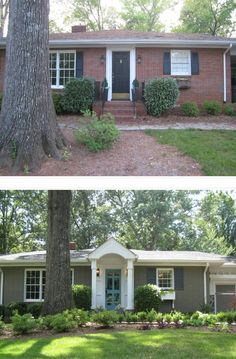 cool ranch style house additions. Before  After Painted Brick Ranch Style Home Sherwin Williams Backdrop Trim Extra White Shutters Black Fox extreme ranch house makeovers Fairway Renovation entry