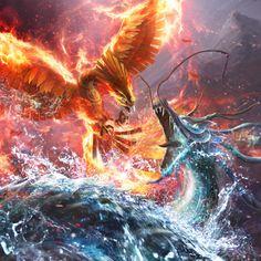 Diamond Painting Fire Phoenix and Water Dragon Kit Mythical Creatures Art, Mythological Creatures, Magical Creatures, Fantasy Creatures, Mythical Bird, Phoenix Artwork, Phoenix Images, Dragon Artwork, Phoenix Dragon