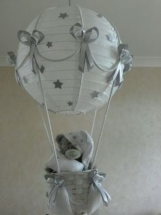 STARRY NIGHT Hot Air Balloon Light Shade in silver grey   Made to Order in Baby, Nursery Decoration & Furniture, Lamps & Shades | eBay!