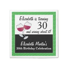 Wining About Turning Wine Birthday Party Napkin 60th Birthday Party, Birthday Celebration, Wine Birthday, Party Napkins, Wine Parties, Ecru Color, Red Wine, Turning 50, Funny