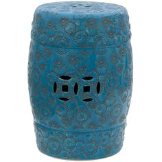 Handcrafted of high-quality porcelain, this charming garden stool offers a stylish modern twist on a traditional Chinese design. The subtly layered glaze features a range of hues from aquamarine to cobalt stamped with spherical swirls and stars.