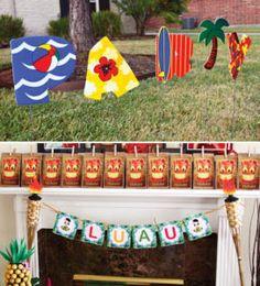 hawaiian luau party signs