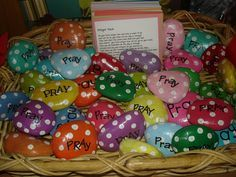 Prayer Rocks, kids put them on their pillows in the morning and then when they try to lay down their head at night they are reminded to pray! Bright Lights idea!