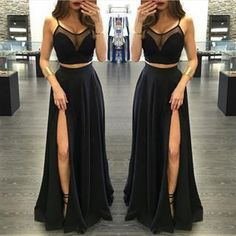 Sexy Prom Dress,Prom Dress,Prom Dresses,Sexy Dress,Charming Prom Dress,Black Formal Dress,2 pieces Prom Gown For Teens