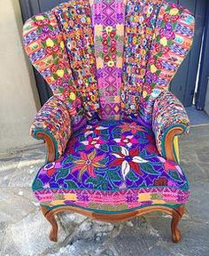 Folk Project features chairs using mexican textiles and huipil