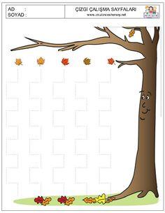 3+ yas Nature Crafts, Fall Crafts, Preschool Worksheets, Preschool Activities, Fallen Book, Fall Preschool, Pre Writing, Fine Motor Skills, School Projects