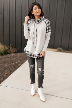 Plaid Details Top in Grey - Small