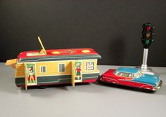 Early Yonezawa Yone Friction Toy Car with Camper - Tinplate Litho Japan 1950s