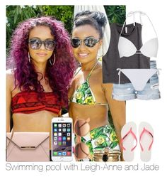 """""""Swimming Pool With Leigh-Anne And Jade"""" by hazzgirl03 ❤ liked on Polyvore featuring beauty, Frame Denim, H&M, Topshop, Havaianas, Ray-Ban and Accessorize"""