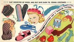 Vogart 162 Crochet, Wool Felt Hat, Slippers & more patterns. 1950s