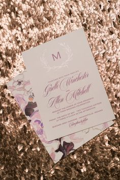 GISELLE Suite Glitter Package, grey, rose gold, burgundy, rose gold glitter wedding invitations, invitations with laurels, blush wedding