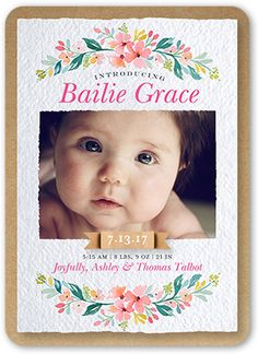 Birth Announcement: Floral Laurel, Rounded Corners, Pink