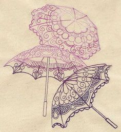 Delicate Parasols | Urban Threads Site has machine embroidery and hand embroidery patterns.