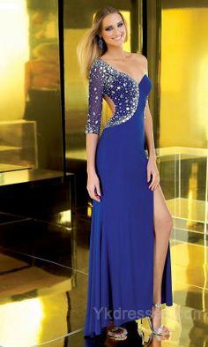 blue one sleeve dress