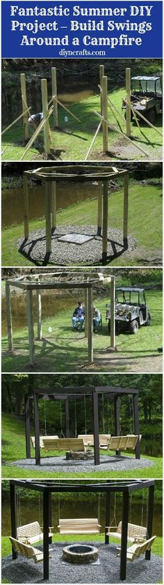 Swings for a fire pit ... what a superb idea! Only problem with the Theatre Road Gang the space between the fire pit and swings would need way adjusted or the swings would be on fire within an hour tops.